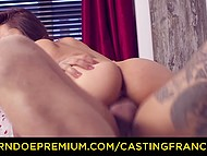 French girl with facial piercing and ear stretching plugs comes to porn casting for new sexual experience 6