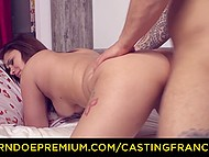 French girl with facial piercing and ear stretching plugs comes to porn casting for new sexual experience 9