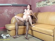 Pregnant girl with red hair and natural tits needs physical activities in the form of interracial sex