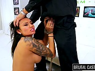 Latina female with big tits wants to try a harder sex and comes to brutal porn-casting 7