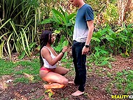 Boy played a bad joke with black chick so she caught him in park and make get it on with her 3