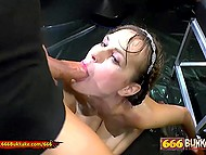 Whore agrees for group fucking and being pissed from head to foot in a dark studio