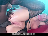 Girl in bodystocking is locked in the cage and craves for freedom but black man frees her for anal fuck only 10