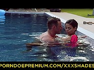 Tattooed man penetrates Latina girlfriend with big boobies and a huge asshole by the pool 4