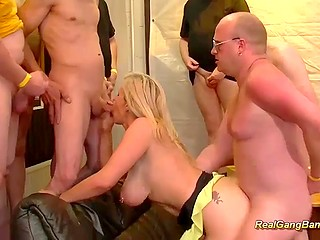 Fuckers applaud when German mature shows big tits and penetrate pierced vagina in turn