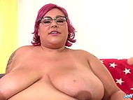 BBW with a pretty figure moans while sex-machine is shoving dildo deeper and deeper inside vagina 5