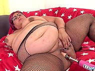BBW with a pretty figure moans while sex-machine is shoving dildo deeper and deeper inside vagina 6