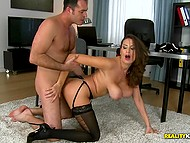 When there are some documents to sign, appetizing MILF with giant charms uses pussy to draw attention of boss