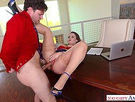 Businessman's assistant Natasha Nice needs leave and boss will give it to her after fuck