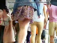 There are a lot of girls wearing short skirts in the streets and cameraguys manage to film their panties 5