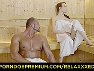 Angel Rush notices muscular guy in sauna and all leads to unhurried lovemaking 4