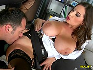 Office slut Sensual Jane uses amazing jugs to motivate client close the deal on her price 8