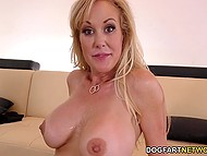 Black men want to talk about business but lustful MILF Brandi Love thinks threesome is more important 9