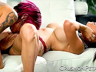 Inked star Anna Bell Peaks and chesty partner Peta Jensen actively use vibrator in their games 4