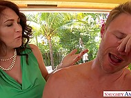 Dirty cougar notices penis of her son's friend and wants to taste it with her skillful mouth 3