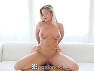 Sumptuous blonde Jessa Rhodes masturbates pussy with dildo and enjoys sex with boyfriend