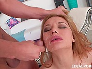 After group sex with anal penetration, nice slut swallows cum and men piss on her face 9