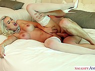 Hot blonde with hefty tits is always ready to fulfill husband's request so she spreads legs for his friend when man asks her