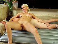 Blonde masseuse Kenzie Taylor with big breasts gladdens client with blowjob and cock riding 4