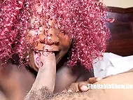Ebony BBW with curly purple hair is fucked from behind and blows big cock after good pussylicking 6