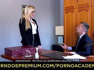 Beautiful blonde Georgie Lyall falls asleep and dreams she is a teacher who seduces older stud