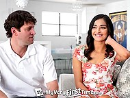 Brave Latina lassie wants to have her very first sex in front of multiple cameras at porn studio 5