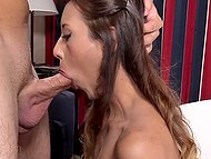 Muffin was warmed up with huge vibrator and after that student girl shows what her mouth is capable of 7