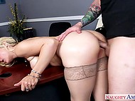 Boss Sarah Vandella will forgive employee for lateness but he has to fuck blonde's holes well 4