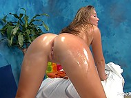 Sex drive of young masseuse is really high and she is always glad when client's cock drills shaved twat 8
