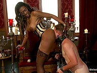 Busty Ebony mistress gives man shoes for licking, walks him on a leash, and he rims asshole