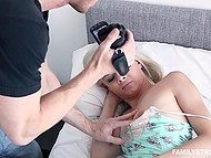 Teen platinum blonde Elsa Jean wakes up because of stepdad touching her ass and sucks his cock on camera 4