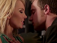 Blonde MILF Aaliyah Love lies on the couch and spreads legs to enjoy cunnilingus 6
