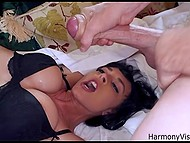 Slutty brunette let three stallions with hard dicks penetrate all her welcoming holes 7