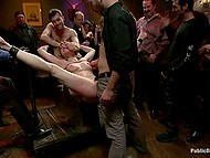 Several guys roughly drill pussy of tied up blonde among crowd of amateur onlookers 11