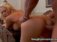 Блонда с крупными кокосами Kagney Linn Karter заманивает женатого соседа в кабинет мужа для перепиха 9