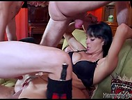 Three horny men screw all holes of fearless brunette and she experiences double vaginal penetration 4