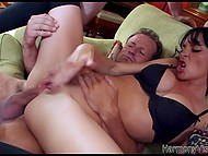 Three horny men screw all holes of fearless brunette and she experiences double vaginal penetration 5
