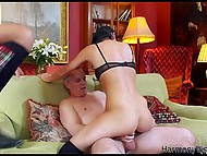 Three horny men screw all holes of fearless brunette and she experiences double vaginal penetration 9