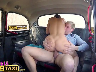 Female taxi driver from Czech decides to show passenger her license and spread legs in the backseat