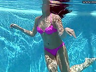 Dark-haired lovely Jessica Lincoln from Russia likes to swim under water being naked 4