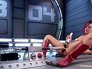 Соло сцена с участием азиатки в красных сапожках, получающую удовольствие от секс-машины и вибратора 10