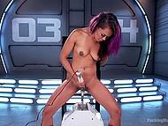 Соло сцена с участием азиатки в красных сапожках, получающую удовольствие от секс-машины и вибратора 3