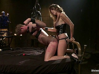 To make man be good next time mistress tied him up and punished with strapon in asshole