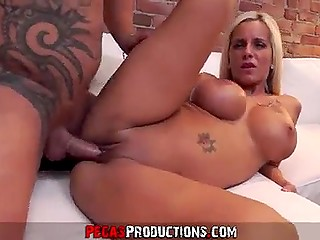 Playful French woman with enormous jugs accosts man and makes him penetrate her bottom and cum over tight asshole