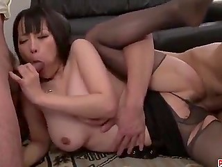 Boss calls Japanese secretary in pantyhose to his office for threesome sex with his business partner