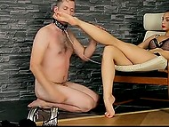 Brunette in stockings dies of boredom and she cheers herself up humiliating man with collar 10