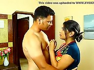 Homeowner takes off shirt and fucks fetching Indian maid in missionary position on the bed 4