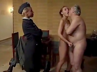 Old General's assistant finds a young girl and watches raunchy man fucking tight pussy