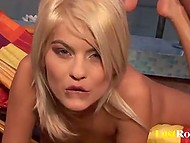 Blonde from Romania calls a guy to put lotion on her body and it turns into sex with foot fetish 9