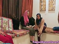 Shy Arab girls hire a black stripper who cums on their faces after they suck and ride big cock 9